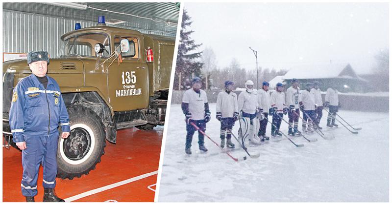 Гордость Айрата Голякова и пожарная часть, и хоккейная команда в форме