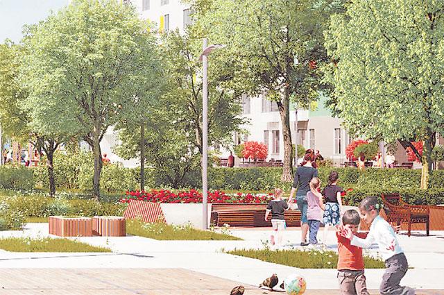 В каждом новом квартале появится прогулочная аллея или неболь- шой парк с хорошим освещением, лавочками, клумбами, детскими площадками.