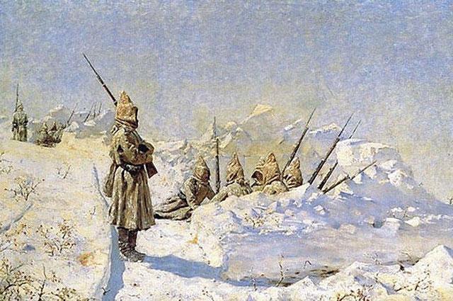 «Снежные траншеи» (Русские позиции на Шипкинском перевале). Василий Верещагин.