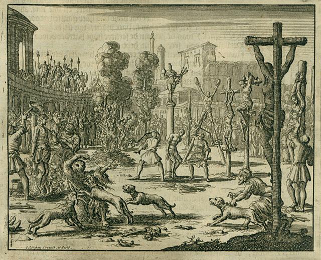 Офорт Жана Люкена, изображающий преследование христиан императорами Диоклетианом и Максимианом