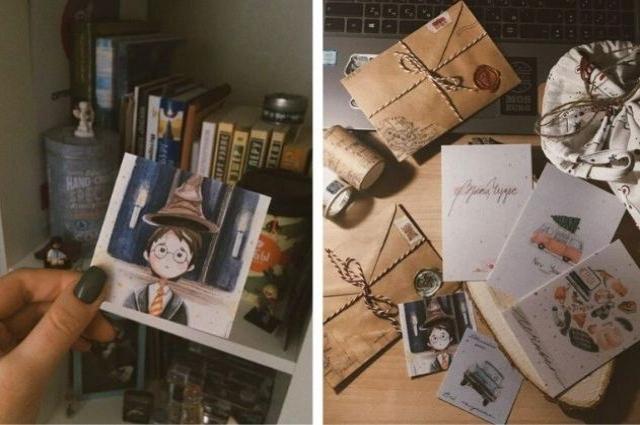 Каждая открытка в уникальной упаковке, сделанной своими руками.
