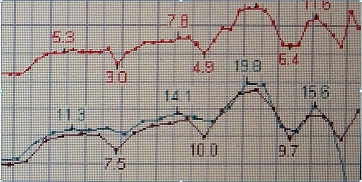 Фото №1. Фрагмент записи параметрического самописца Боинг 737, разбившегося в Казани. Расшифровка параметрических самописцев из опубликованный технических отчётов МАК