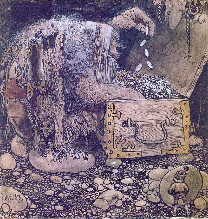 Богатсва, обещанные рыцарю троллихой не смогли соблазнить юношу. «Тролли пересчитывают свои богатства», рисунок Йона Бауэра.