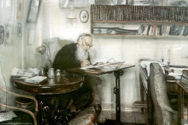 В. Н. Мешков. Л. Н. Толстой за работой в библиотеке в Ясной поляне.