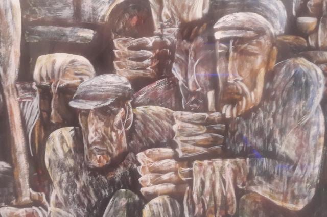 Николай Третьяков «Поморы», 1968 г. Бумага, темпера, гуашь. ООМИИ им. М. А. Врубеля