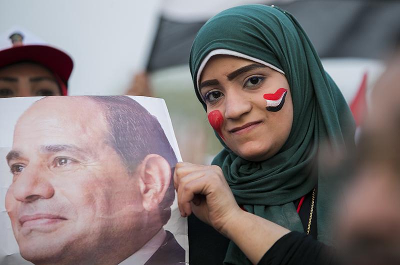 Выборы президента Египта. На постере избранный глава страны Абдель Фаттах аль-Сиси