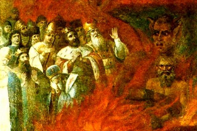 «Лев Толстой в аду». Фрагмент стенной росписи из церкви села Тазова Курской губернии. 1883 г.