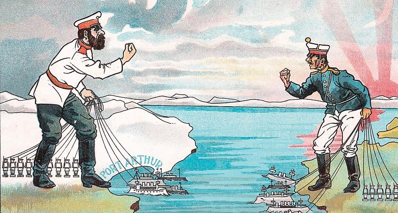 Проблемы между Россией и Японией начались ещё в XIX в. и до сих пор не разрешились.  Английская карикатура на русского царя и японского императора, начало XX в.
