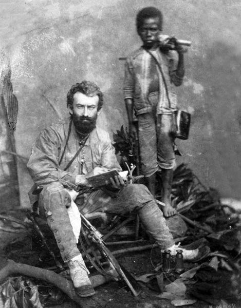 Миклухо-Маклай с папуасом Ахматом. Малакка, 1874 или 1875 год.