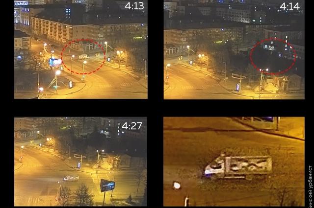 Автомобиль предполагаемых воров попал на видео.