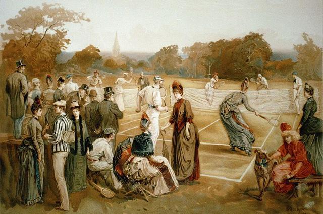 Игра в теннис в XIX в. Картина Луиса Пранга