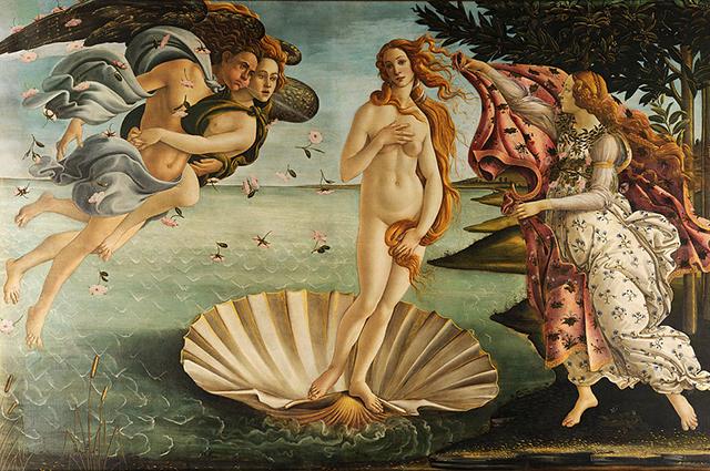 Сандро Боттичелли, «Рождение Венеры», 1482—1486 гг. Уффици, Флоренция