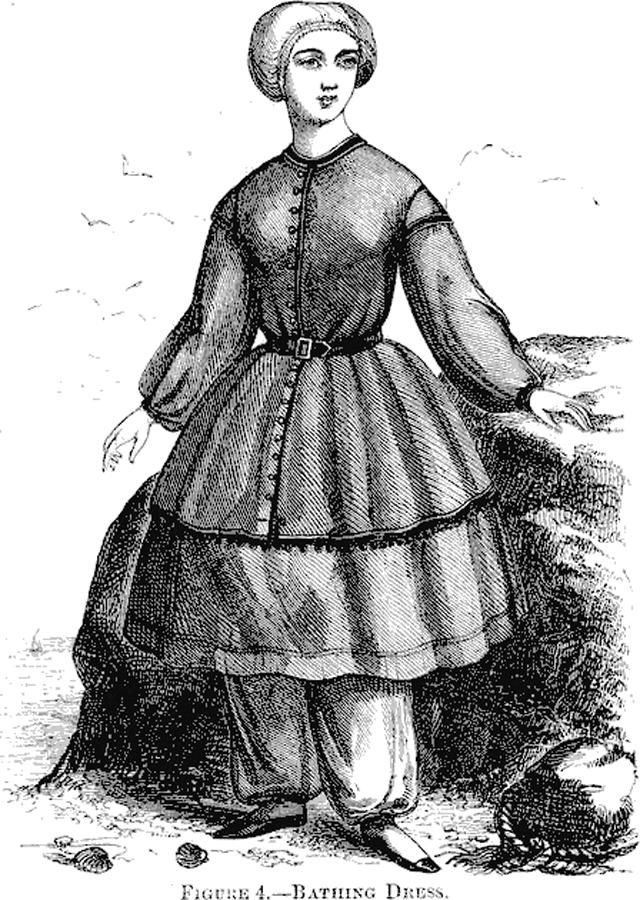 Женский купальный костюм 1858 года.