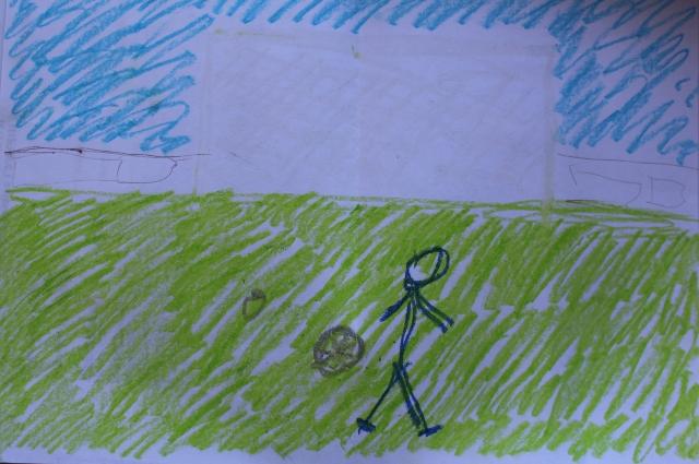 Арт-терапия с осуждёнными. Мужчина нарисовал футбольное поле и себя с сыном.