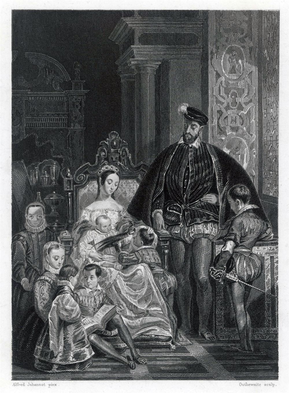 Генрих II, король Франции, с королевой Екатериной Медичи и шестью из их девяти детей.
