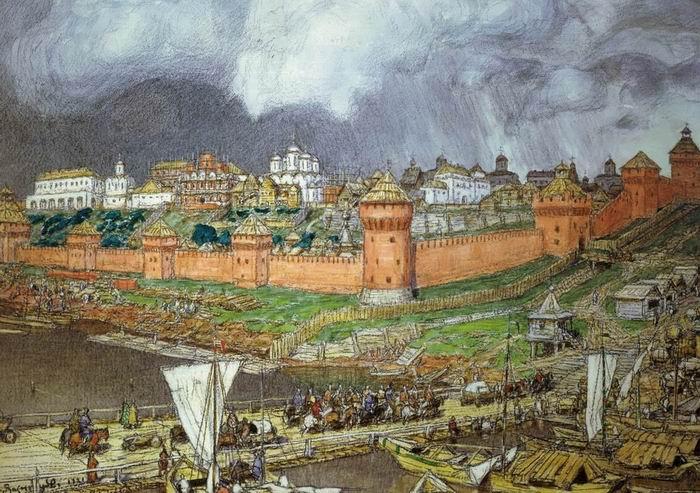 А.М. Васнецов. Наплавной мост через Москву-реку при Иване III