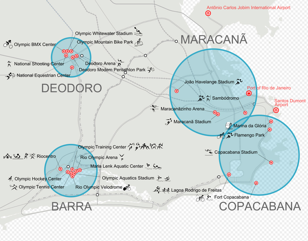 Карта расположения олимпийских объектов в Рио-де-Жанейро