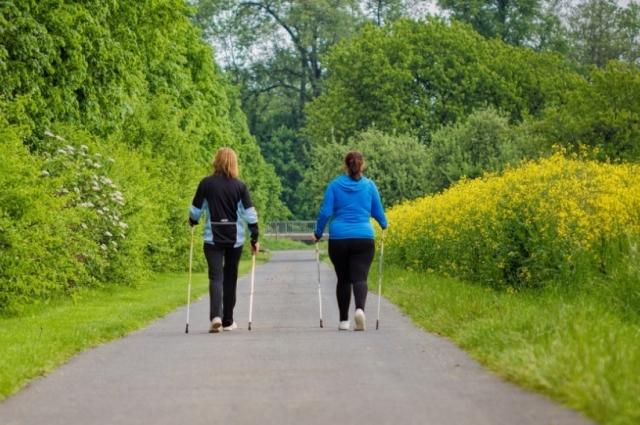 Заниматься скандинавской ходьбой полезно не только пенсионерам, но и молодым людям.