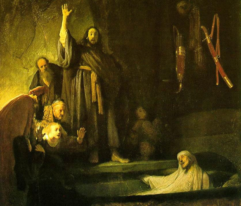 Фрагмент картины Рембрандта «Воскрешение Лазаря»