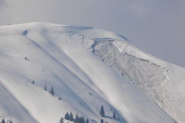 Схождение лавины в Закарпатской области.