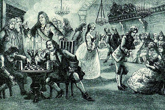 Россиянки получили доступ на корпоративы благодаря Петру I. Гравюра XVIII в. Ассамблея Петра I
