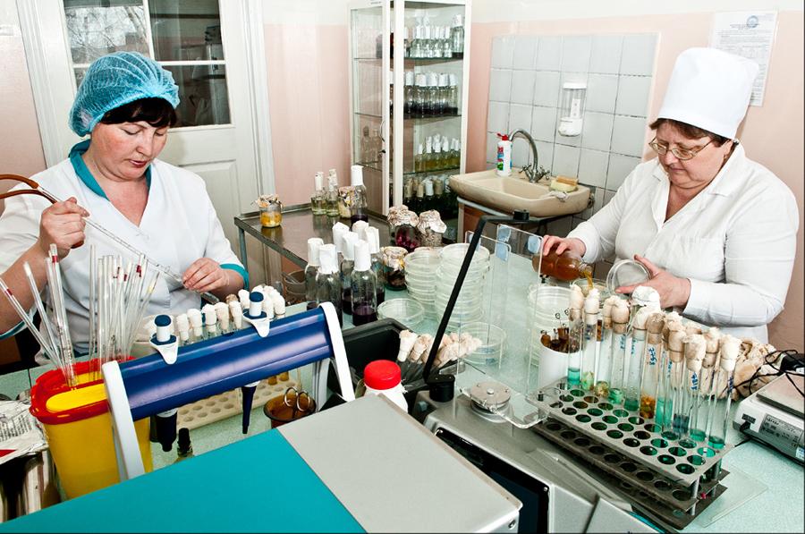 Сотрудники микробиологической лаборатории сегодня.