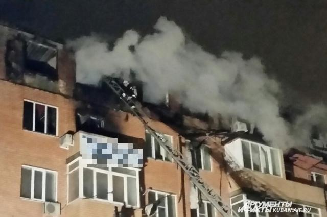Пожар в доме на улице Прокофьева в Краснодаре.