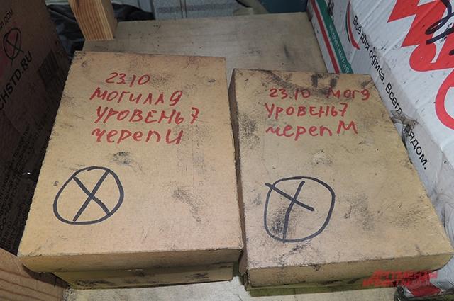 На каждой коробке номер могилы и уровня захоронения