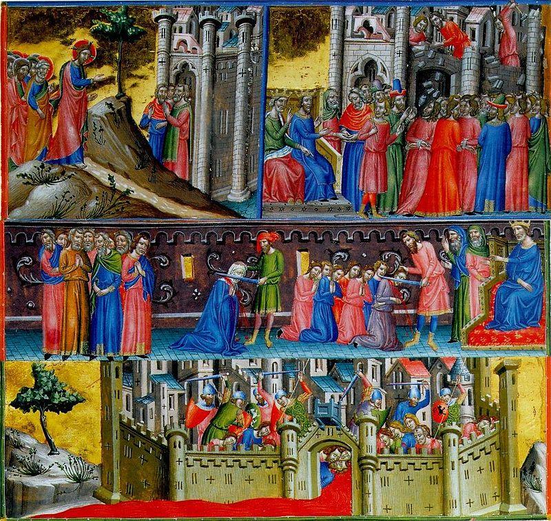 Резня в Иерусалиме и кровавая река, вытекающая из городских ворот (миниатюра, XIII век)