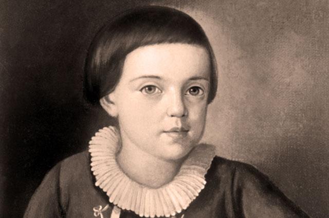 Репродукция портрета М. Ю. Лермонтова в возрасте 6 8 лет, 1820 22 гг
