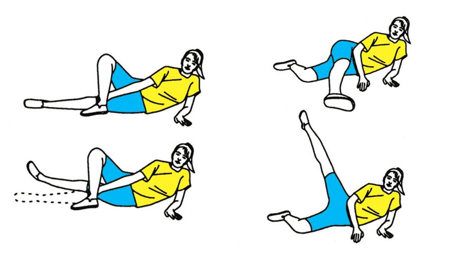 Гимнастика для вен: Упражнения лежа на боку