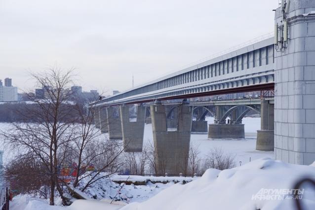 метромост Обь река зима новосибирск