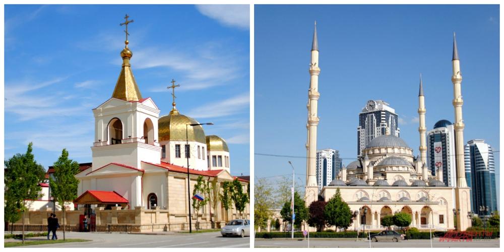 Храм Архангела Михаила на проспекте А. А. Кадырова и мечеть Сердце Чечни на проспекте В. Путина