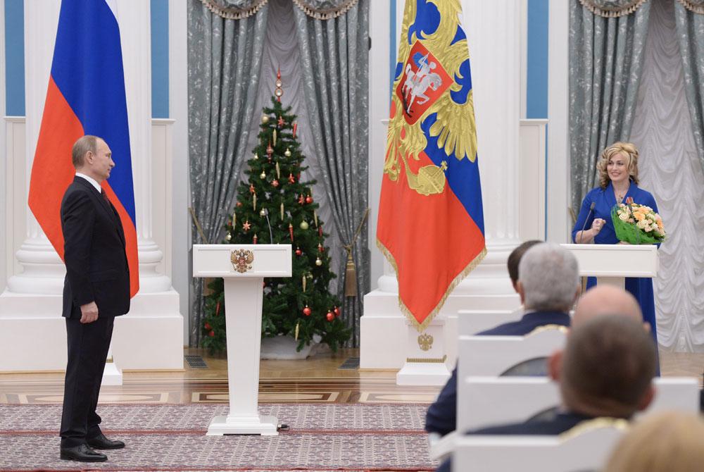 Светлана Капанина на церемонии вручения государственных наград выдающимся россиянам в Кремле.