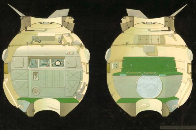 Утвержденный проект интерьера орбитального отсека «Союза-19» попрограмме «Союз-Аполлон», 1973г.