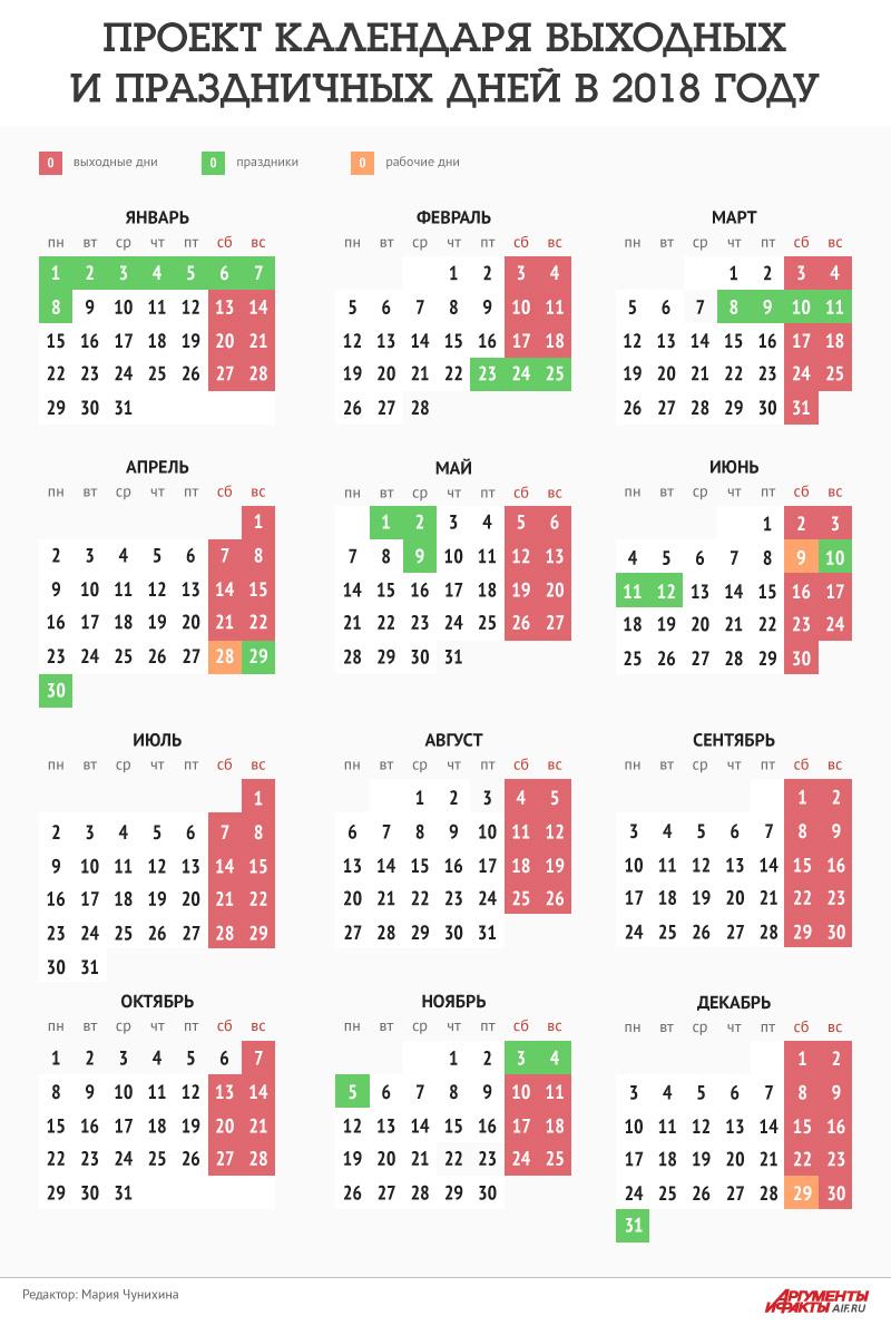 Календарь праздничных дней на 2018 год. Инфографика