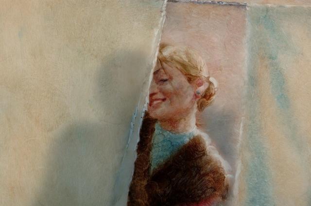 Петров рисует мультфильмы масляными красками на матовом стекле