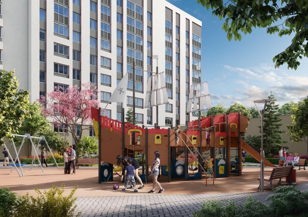 Во всех дворах нового квартала «Близкий» появятся современные и безопасные детские площадки.