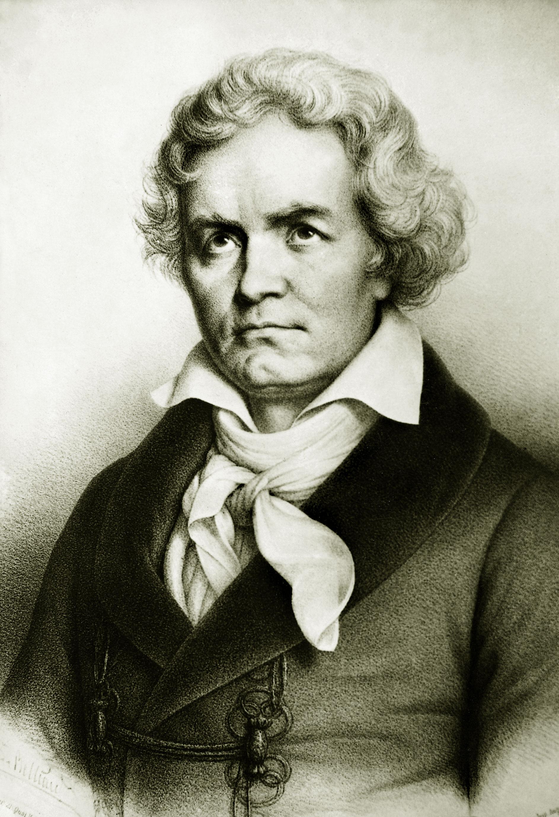 Людвиг ван Бетховен. Гравюра из коллекции французской Национальной библиотеки в Париже. Не позднее 1827 года