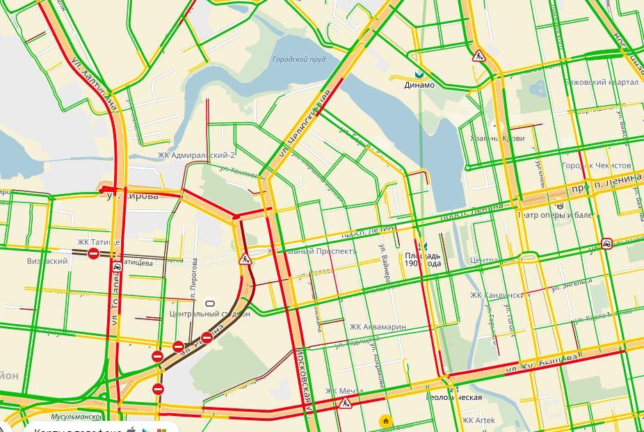 Пробки в центре Екатеринбурга
