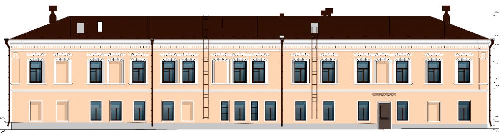 Задняя часть фасада Дому купцов Ижболдиных.