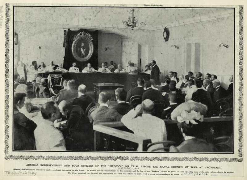 Адмирал Рожественский на процессе, 21 июля 1906 года.