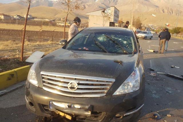 На месте нападения на Мохсена Фахризаде.