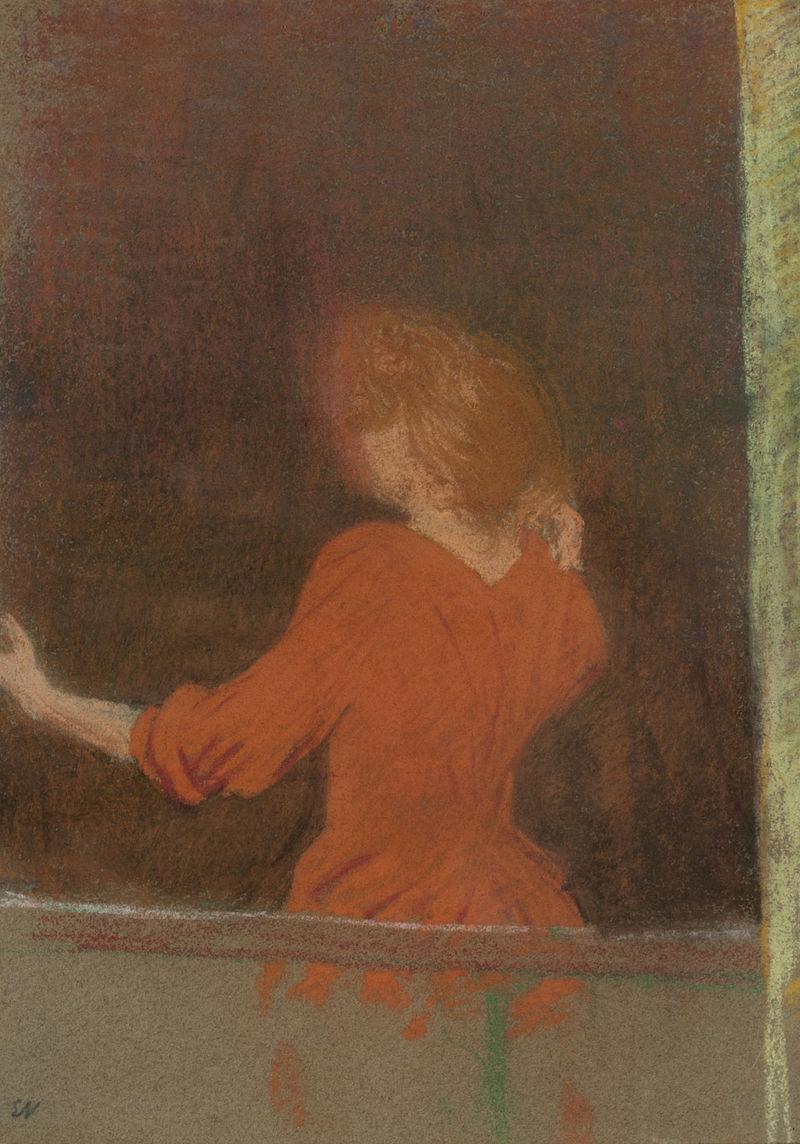 Эдуар Вюйар. Женщина в красном, повернутая спиной к окну.