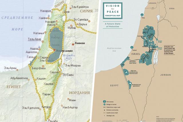 Сейчас границы Палестины и Израиля выглядят так, как обозначено на карте слева. Справа – схема, опубликованная Дональдом Трампом на своей странице в Twitter. По его мнению, так Палестина должна выглядеть после «сделки века».