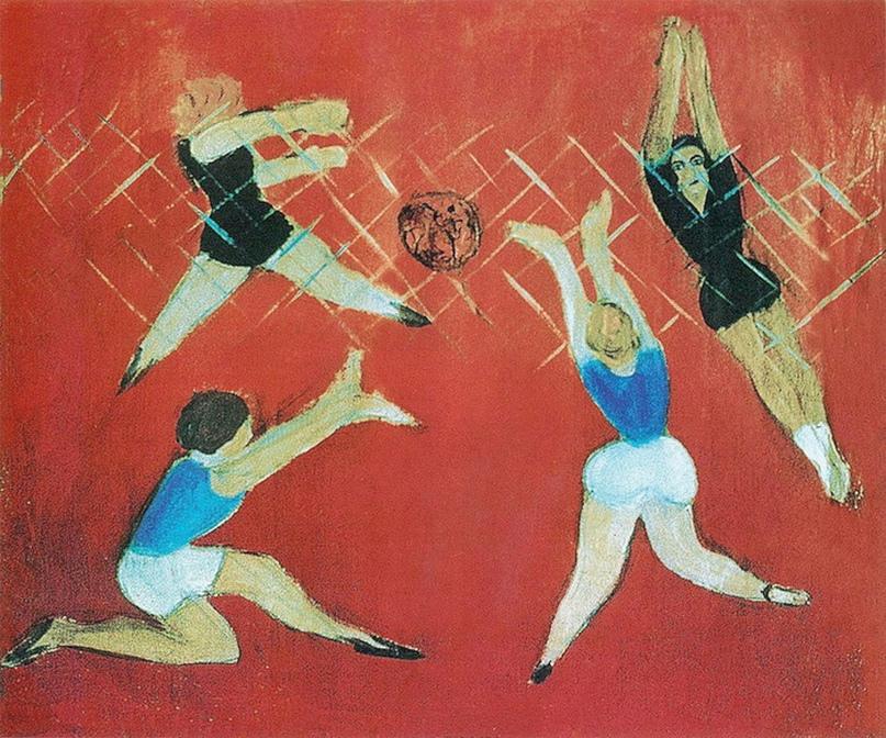 М.Л. Гуревич (1904-1943). Волейбол. 1929 г. Холст, масло. 51,5 х 59,5 см.