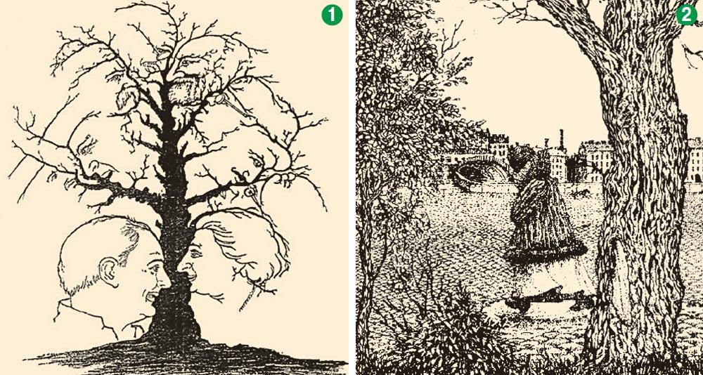 Упражнения «АНТИ-АЛЬЦГЕЙМЕР»:  Можете вы увидеть 10 лиц на дереве?  Видите ли вы лицо на картине?