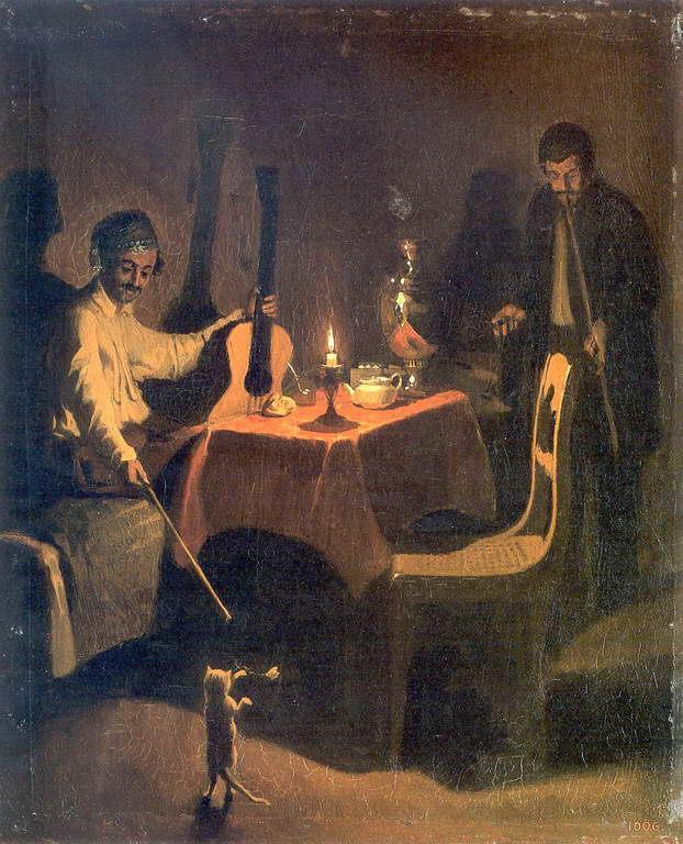 на картине «Офицер и денщик» Федотов изобразил именно своего помощника и верного друга Коршунова.