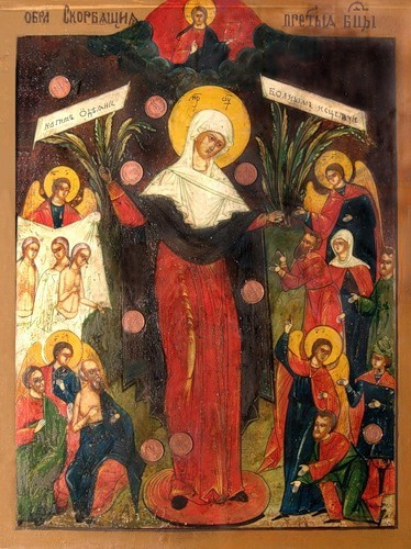 Икона Божией Матери «Всех скорбящих Радость с грошиками» (оригинальный образ из церкви Пресвятой Троицы «Кулич и Пасха»)