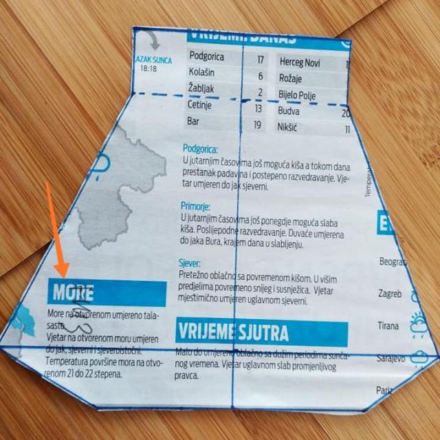 Перенесите выкройку из образца на любую бумагу. Это будет лекало. Подойдёт и просто лист газеты.